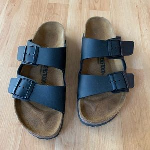 Black colored Birkenstock sandals